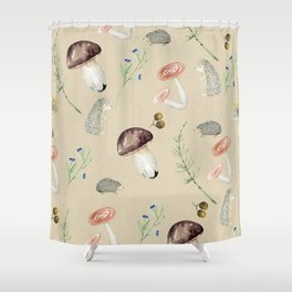 Cute fall woodland animals & foliage Shower Curtain