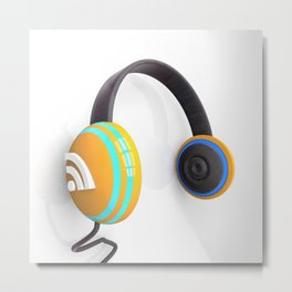 3D wifi headphones Metal Print