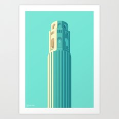 San Francisco Towers - 02 - COIT Tower (Teal/Sans Text) Art Print