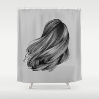 hair Shower Curtains featuring hair by Isabel Seliger