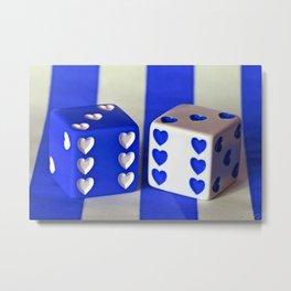 Blue Heart Dice Metal Print