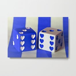 Blue Heart Dice Metal Print