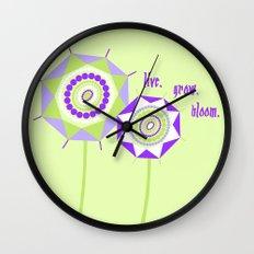 Lavender Mint Flowers Wall Clock