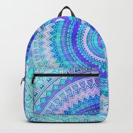 Blue Turquoise And Purple Watercolor Mandala Art Backpack