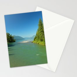 Green Waters Of McDonald River And Lake Stationery Cards