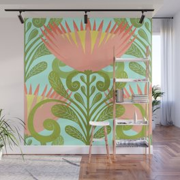 King Protea Flower Pattern - Turquoise Wall Mural