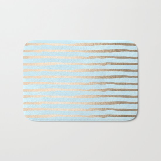 Abstract Stripes Gold Tropical Ocean Sea Turquoise Bath Mat