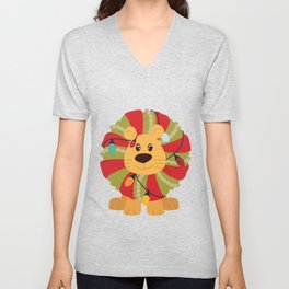 Your Big Cat in Decorative Christmas Wreath Unisex V-Neck
