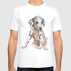dalmatian, dalmatian puppy, dalmatian painting, cute puppy,  Mens Fitted Tee MEDIUM White