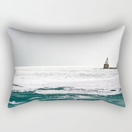 Winter in Chicago aka Chiberia; Ice Patches Float in Lake Michigan Rectangular Pillow
