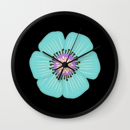 Light Blue Flower Turquoise Flowers Wall Clock