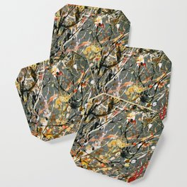 Jackson Pollock Interpretation Acrylics On Canvas Splash Drip Action Painting Coaster