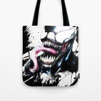 venom Tote Bags featuring Venom  by Liam Shaw Illustration