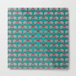 Elephant Heart Aqua Metal Print