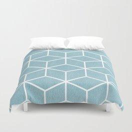 Light Blue and White - Geometric Textured Cube Design Duvet Cover