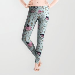 Cats and Flowers (Paeonies) Leggings