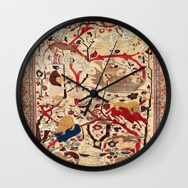 Heriz Azerbaijan Northwest Persian Silk Animal Rug Print Wall Clock