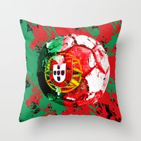 portugal Throw Pillows featuring football Portugal  by seb mcnulty