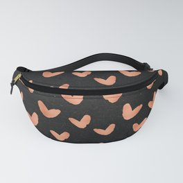 Rose Gold Hearts on Black Fanny Pack