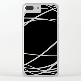 Black and White Circles and Swirls Modern Abstract Clear iPhone Case