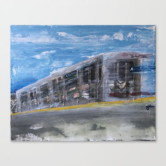 Moving A Train on NYC MTA Platform Canvas Print