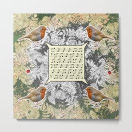 Four singing robins Metal Print