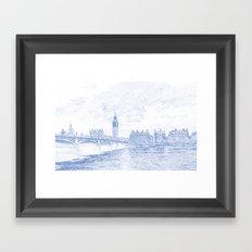 Blueprint Drawing of London Westminster Landmark England 87 Framed Art Print
