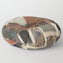 Johannes Vermeer - The little street Floor Pillow
