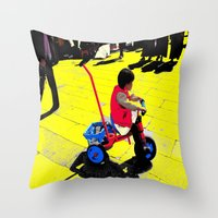cycling Throw Pillows featuring Cycling by lookiz