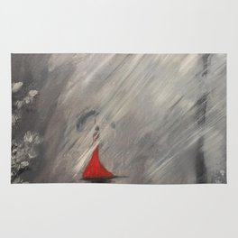 Lady in red - Rainy day Rug