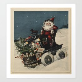 Vintage Santa Claus in a Motorized Sleigh (1920) Art Print