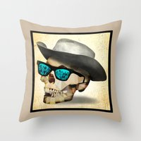 cowboy Throw Pillows featuring Cowboy by robweissillustration.com