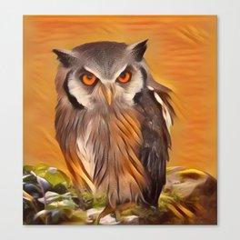 Owl in an orange night Canvas Print
