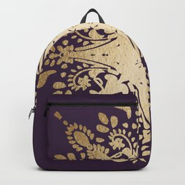 Gold texture foil on mauve ethnic pattern Backpack