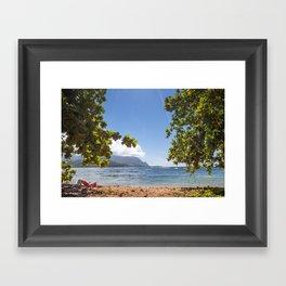 Empty chair on beach overlooking Hanalei Bay in Kauai, Hawaii Framed Art Print