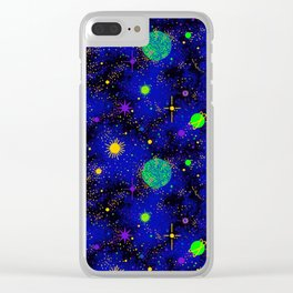 Wrinkle Planet Pattern Clear iPhone Case