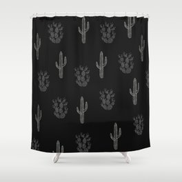 Cactus Pattern Black Shower Curtain