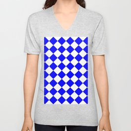 Large Diamonds - White and Blue Unisex V-Neck