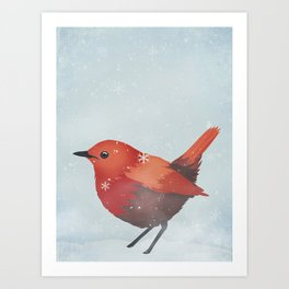 Little Red Robin in the Snow Art Print