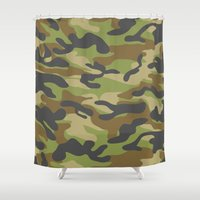 military Shower Curtains featuring Green Military Camouflage Pattern by SW Creation