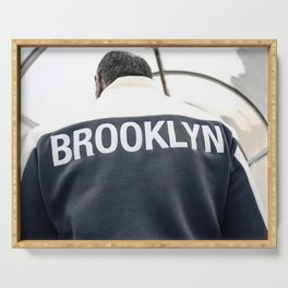 Brooklyn man in downtown New York City - NYC Street Photography Serving Tray
