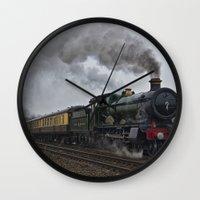 ashton irwin Wall Clocks featuring Rood Ashton Hall steam locomotive by PICSL8
