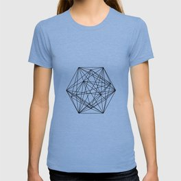 Geometric Crystal - Black and white geometric abstract design T-shirt