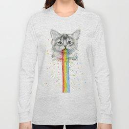 Kitten Puking Rainbows Cat Rainbow Vomit Long Sleeve T-shirt
