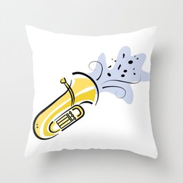 Tuba with Notes Throw Pillow