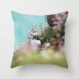 RR(288) Puffins Throw Pillow