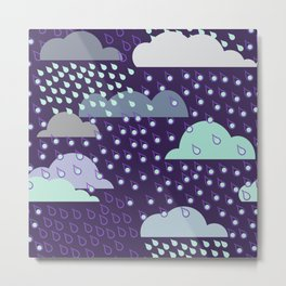 Rainy seamless pattern with clouds. Vector pattern Metal Print