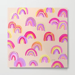 Abstract Rainbow Arcs – Pink Palette Metal Print