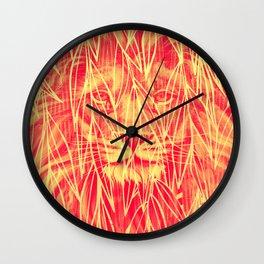 Vintage Bamboo Lion Print Wall Clock
