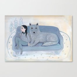 Girl with Blue Wolf Canvas Print